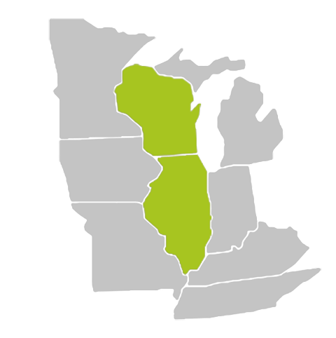 map of Illinois and Wisconsin - roof repair in Belvidere